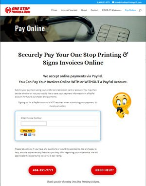 partial screen capture print shop new pay online webpagetop Printing & Signs Pay Online support